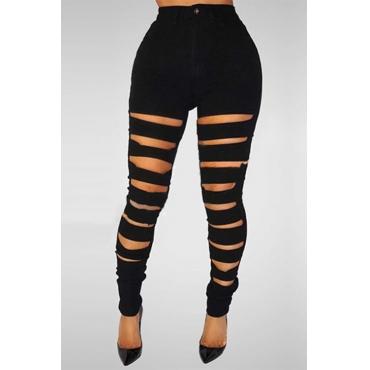 LovelyStylish High Waist Broken Holes Black Denim Skinny Pants Jeans