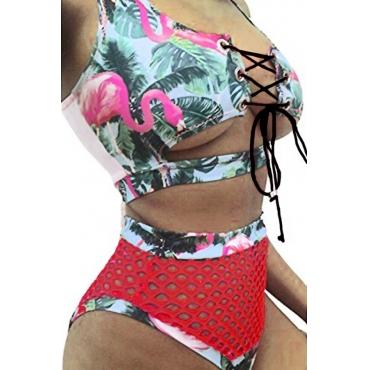 Lovelychic Lace-up Oco-out Impressão Poliéster Verde De Duas Peças Swimwears