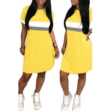Lovely Fashion Round Neck Patchwork Yellow Blending Mini Dress