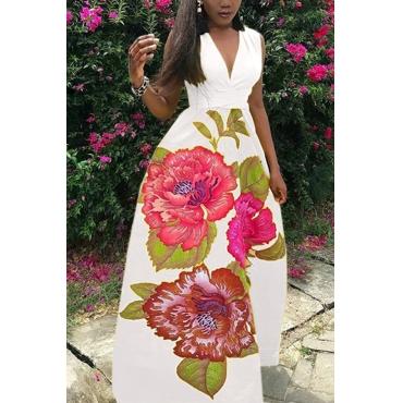 Lovely Bohemian V Neck Printed White Polyester Floor Length Dress