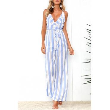 Lovely Fashion V Neck Blue Striped Blending One-piece Jumpsuits