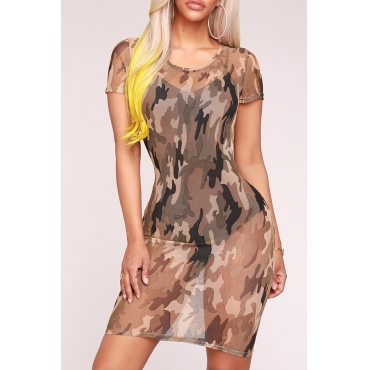 Lovely Sexy Round Neck See-Through Camo Sheath Mini Dress(Without Subcoating)
