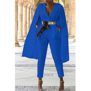 Lovely Work V Neck Cape Design Blue Twilled Satin One-piece Jumpsuits