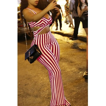 Lovely Casual V Neck Striped Red Twilled Satin One-piece Jumpsuit