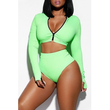Lovely Chic V Neck Zipper Green Two-piece Swimwears