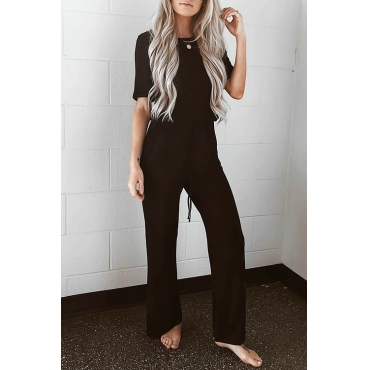 Lovely Casual Round Neck Drawstring Black Cotton Blends One-piece Jumpsuits