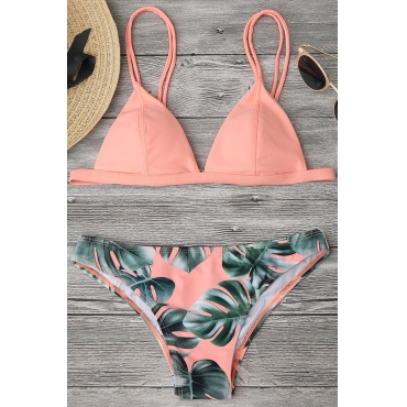 Lovely Chic Leaf Printed Pink Two-piece Swimwears