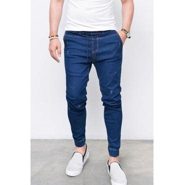Lovely Casual Mid Waist Drawstring Dark Blue Jeans