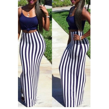 Lovely Casual Striped Purple Floor Length Skirts