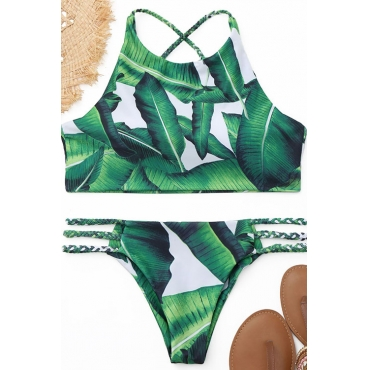 Lovely Leaf Printed Green Two-piece Swimwears