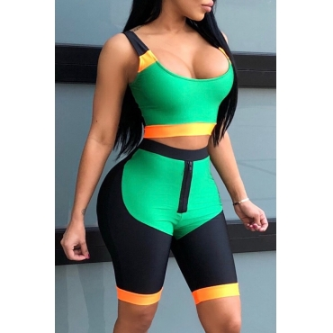 Lovely Trendy U Neck Patchwork Green Blending Two-piece Shorts Set