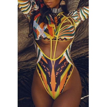 Lovely Fashion Round Neck Lace-up Printing One-piece Swimwears