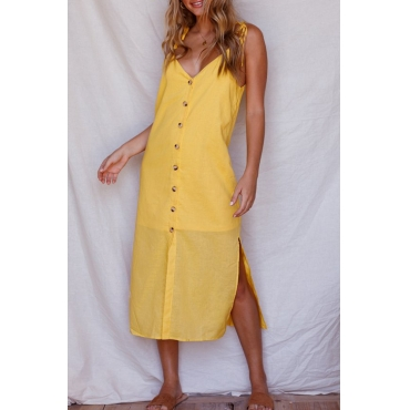 Lovely Casual V Neck Buttons Slit Hem Yellow Blending Mid Calf Dress