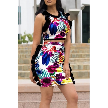 Lovely Trendy Printed Twilled Satin Two-piece Skirt Set
