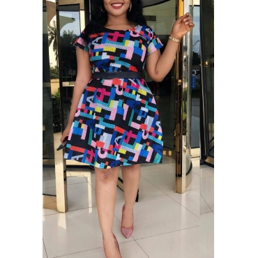 Lovely Trendy Printed Knee Length Dress(Without Belt)