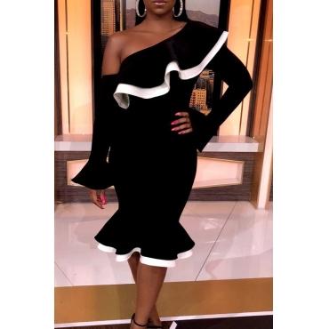 Lovely Trendy One Shoulder Asymmetrical Black Knee Length Dress