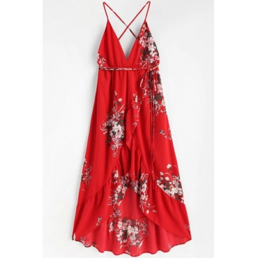 Lovely Euramerican Printed Asymmetrical Red Floor Length Dress