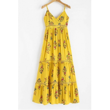 Lovely Euramerican Printed Hollow-out Yellow Cotton Blends Ankle Length Dress