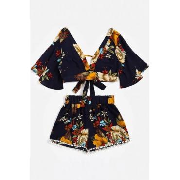 Lovely Trendy V Neck Backless Printed Black Chiffon Two-piece Shorts Set