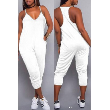 LovelyEuramerican Dew Shoulder White One-piece Jumpsuits