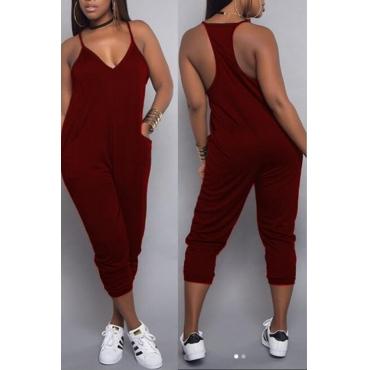 LovelyEuramerican Dew Shoulder Wine Red One-piece Jumpsuits