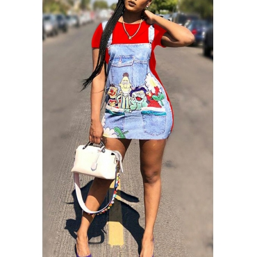 Lovely Casual Round Neck Patchwork Cartoon Printed Red Twilled Satin Mini Dress