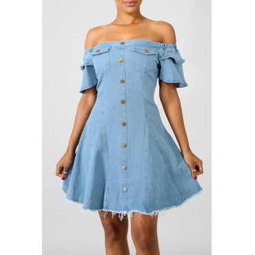 Lovely Trendy Dew Shoulder Blue Denim Mini Dress