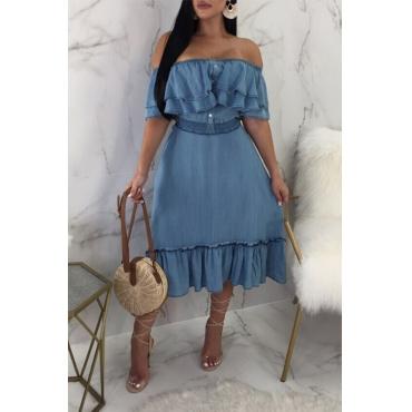 LovelyTrendy Falbala Design Blue Cotton Mid Calf Dress