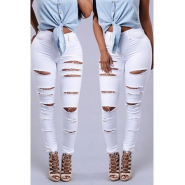 Lovely Euramerican Broken Holes White Pants