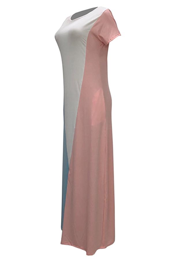 LovelyCasual Short Sleeves Patchwork Pink Blending Floor Length Dress