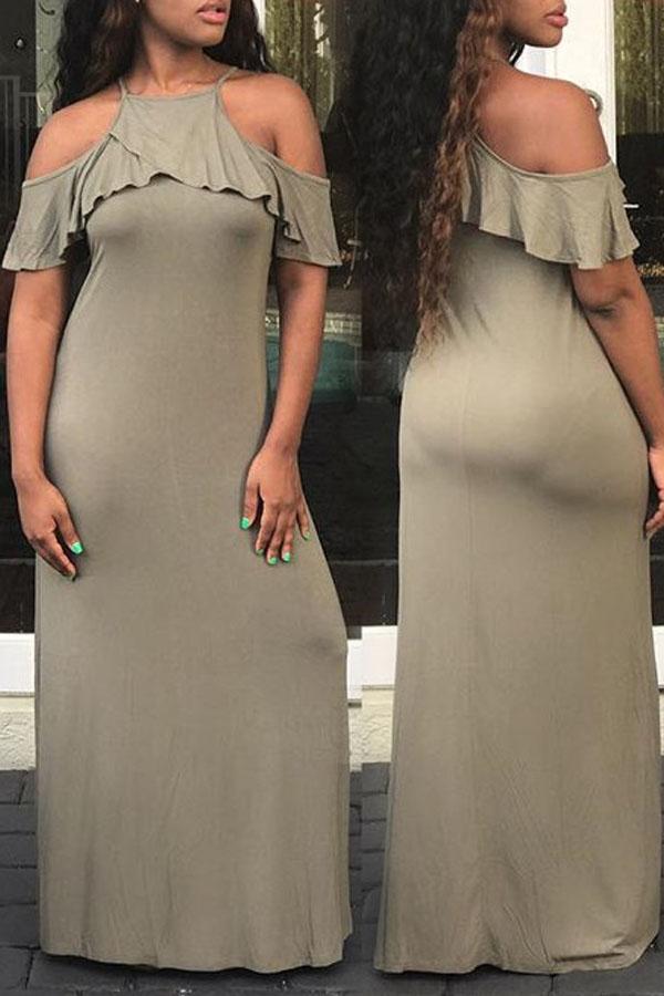 Lovely Euramerican Flounce Green Ankle Length Dres