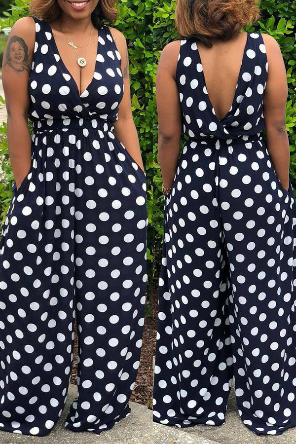Lovely Casual Polka Dot Printed Black  One-piece Jumpsuit