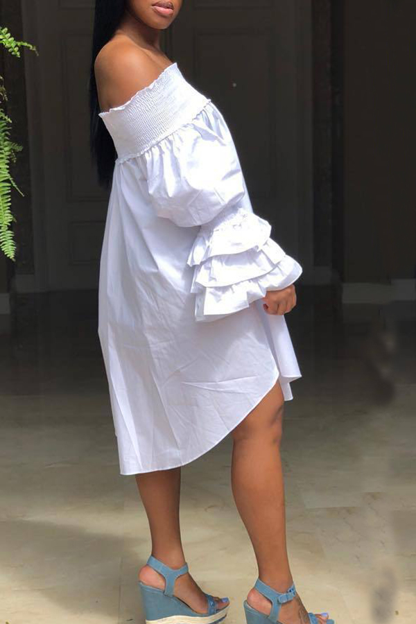Lovely Trendy Dew Shoulder White Ruffles Knee Length  Dresses