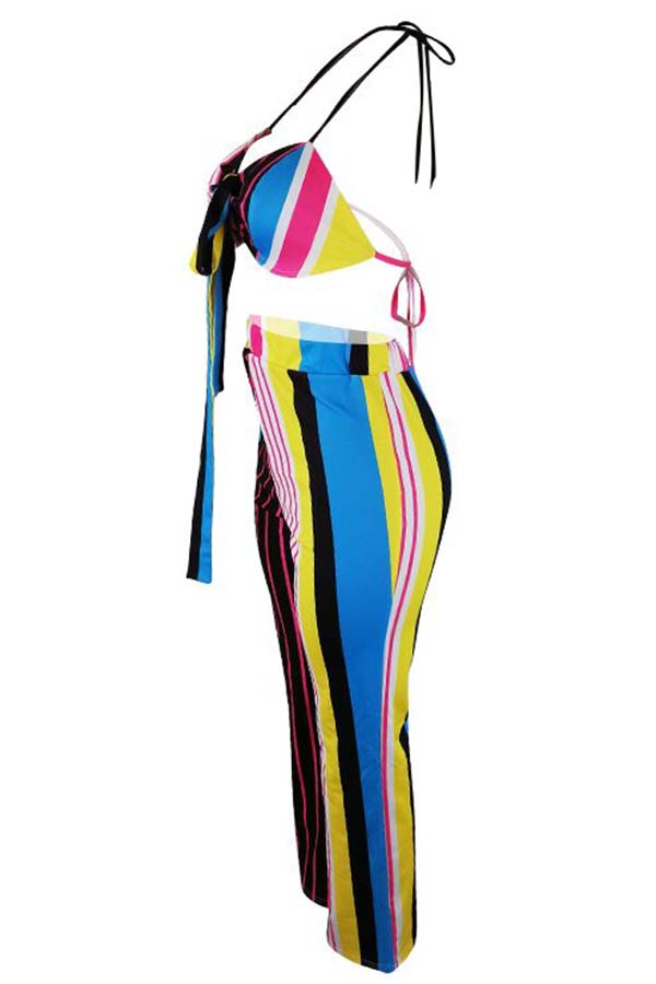 LovelyEuramerican Dew Shoulder Striped Purple Two-piece Pants Set
