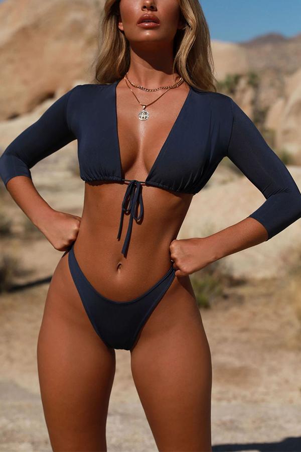 Lovely Casual Drawstring  Dark Blue Two-piece Swimwear