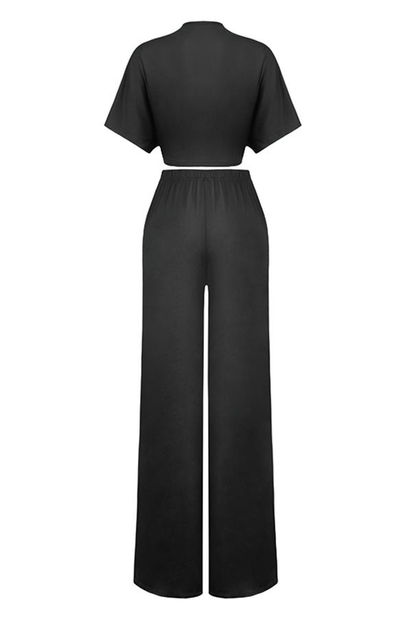 LovelyCasual  Deep V Neck  Loose  Black Two-piece Pants Set