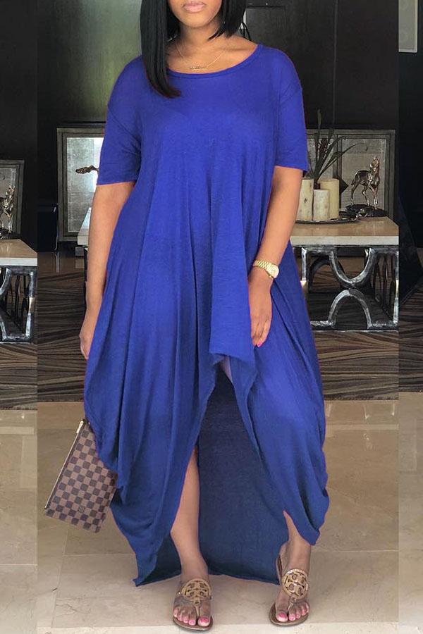 LovelyCasual Asymmetrical Blue Floor Length Dress