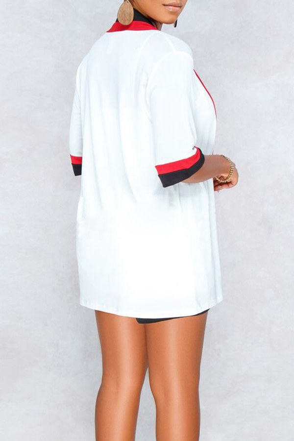 Lovely Euramerican  Patchwork White Two-piece Shorts Set(Without Waistcoat)