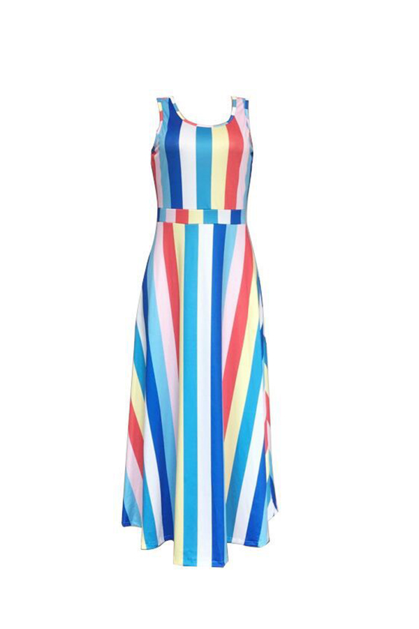 LovelyCasual Patchwork Striped  Multicolor Ankle Length  Dress