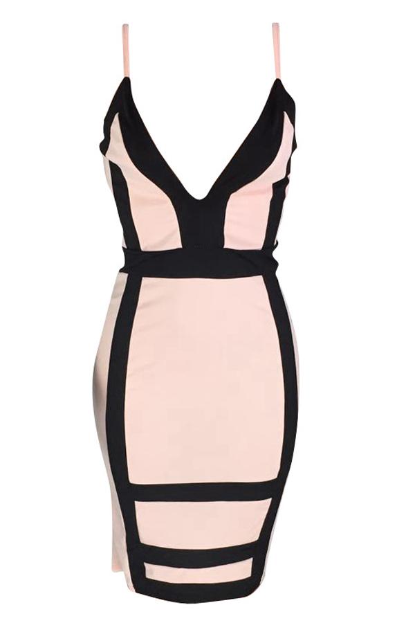 LovelySexy  Deep V Neck Patchwork Light Pink  Knee Length Dress