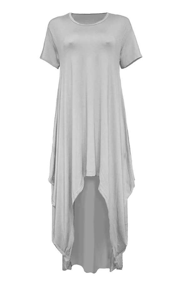 LovelyCasual Asymmetrical Grey Floor Length Dress