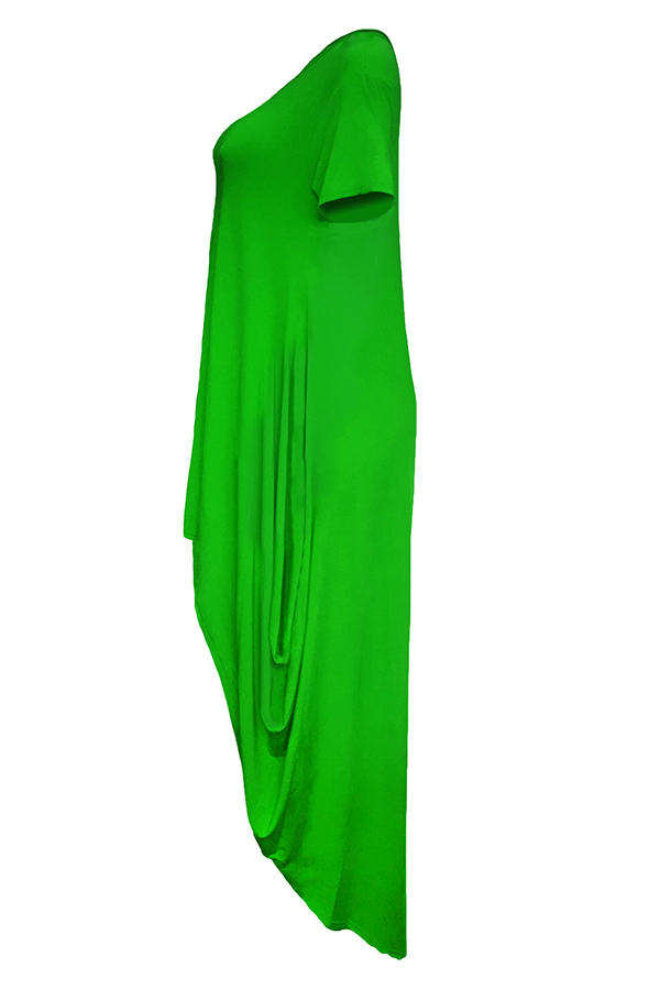 LovelyCasual Asymmetrical Green Floor Length Dress