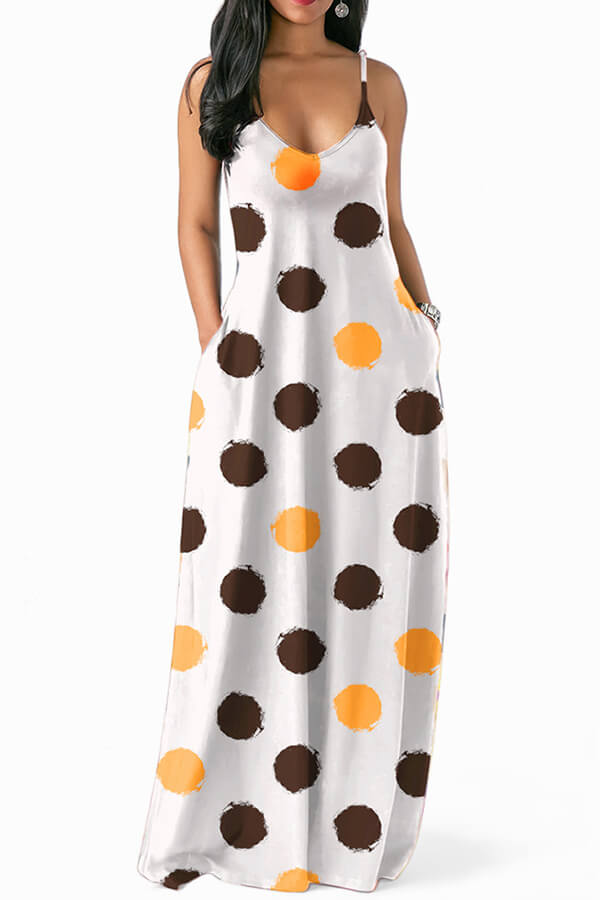 Lovely Casual Dots Printed Coffee Floor Length Dress