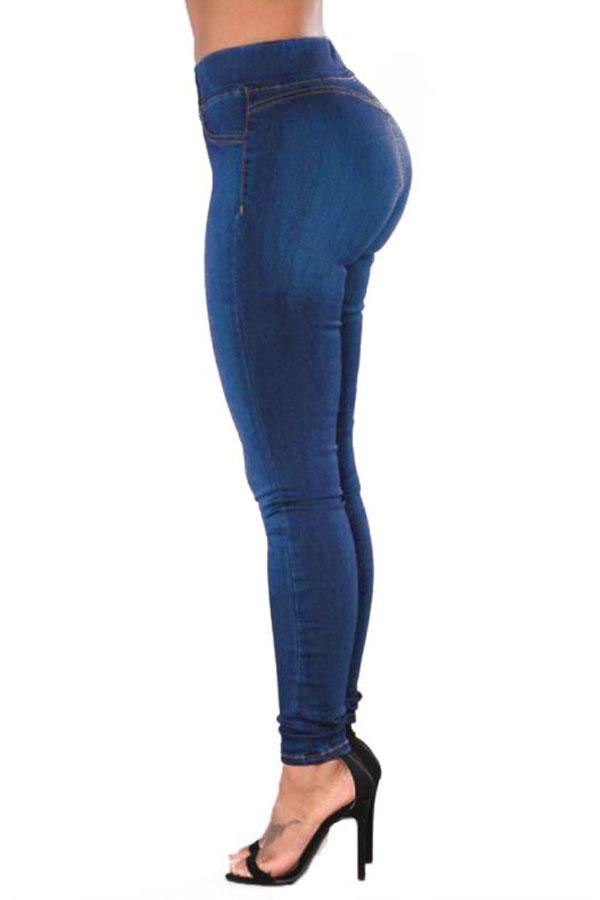Lovely Casual High Waist Deep Blue Jeans