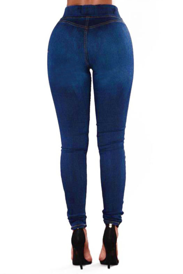 Lovely  Casual High Waist Deep Blue Jeans