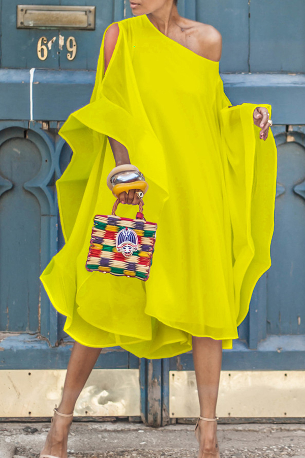 Lovely Sweet Bat-wing Sleeves Asymmetrical Yellow Chiffon Mid Calf Dress
