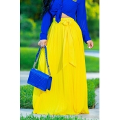 Lovely Euramerican Pleated Lace-up Yellow Skirts