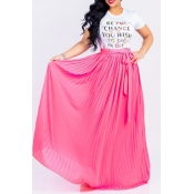 Lovely Euramerican Pleated Lace-up Pink Skirts