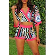 Lovely Ethnic Style Printed Pink Two-piece Shorts