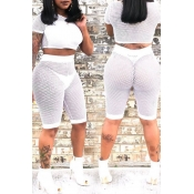 Lovely Sexy See-Through White Two-piece Shorts Set